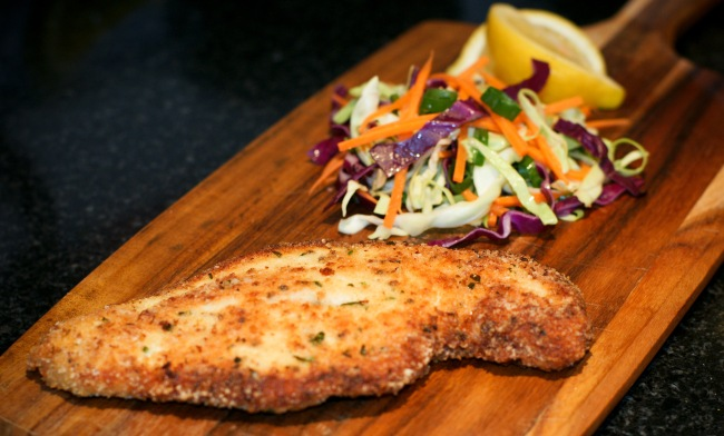 Lemon & Parsley Chicken Schnitzel & Garlic Coleslaw