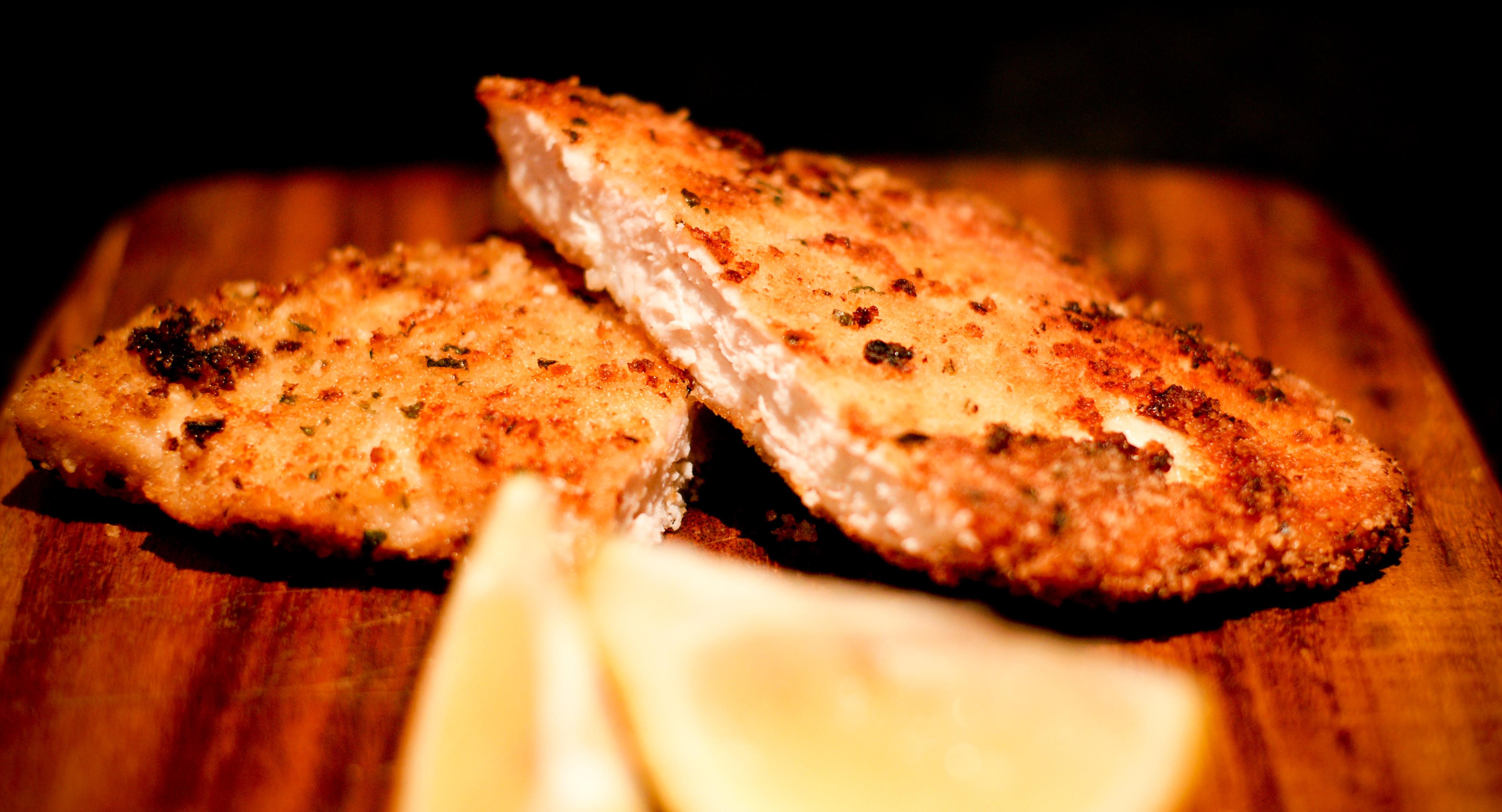 Lemon & Parsley Chicken Schnitzel with Garlic Coleslaw   The ...