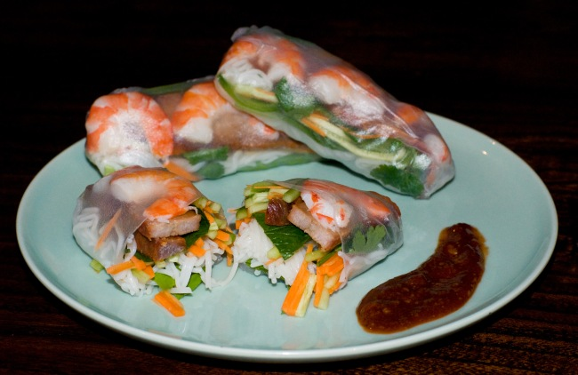 Char sui pork & prawn rice paper rolls