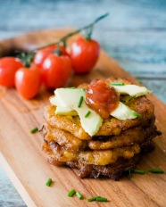 Corn Fritters with Tomato Relish and Avocado-3