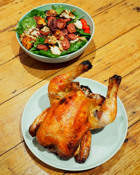 Beer Can Chicken with Chorizo & Haloumi Salad-9