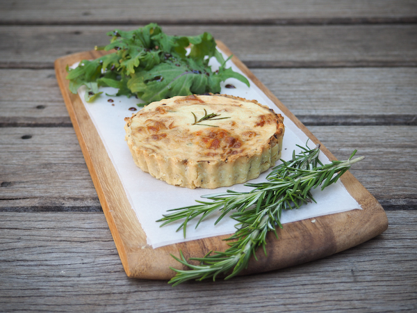 Caramelised Onion, Roasted Garlic & Rosemary Quiche with Olive Oil Crust-1-2