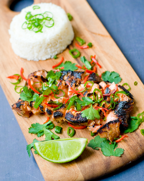 Honey & Soy Salmon with infused coconut rice-1