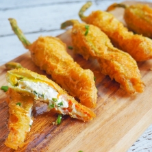 Tempura Zucchini Flowers filled with Zesty Chive Goats Cheese-1-3