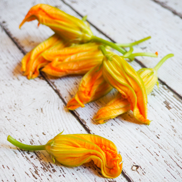 Tempura Zucchini Flowers filled with Zesty Chive Goats Cheese-1