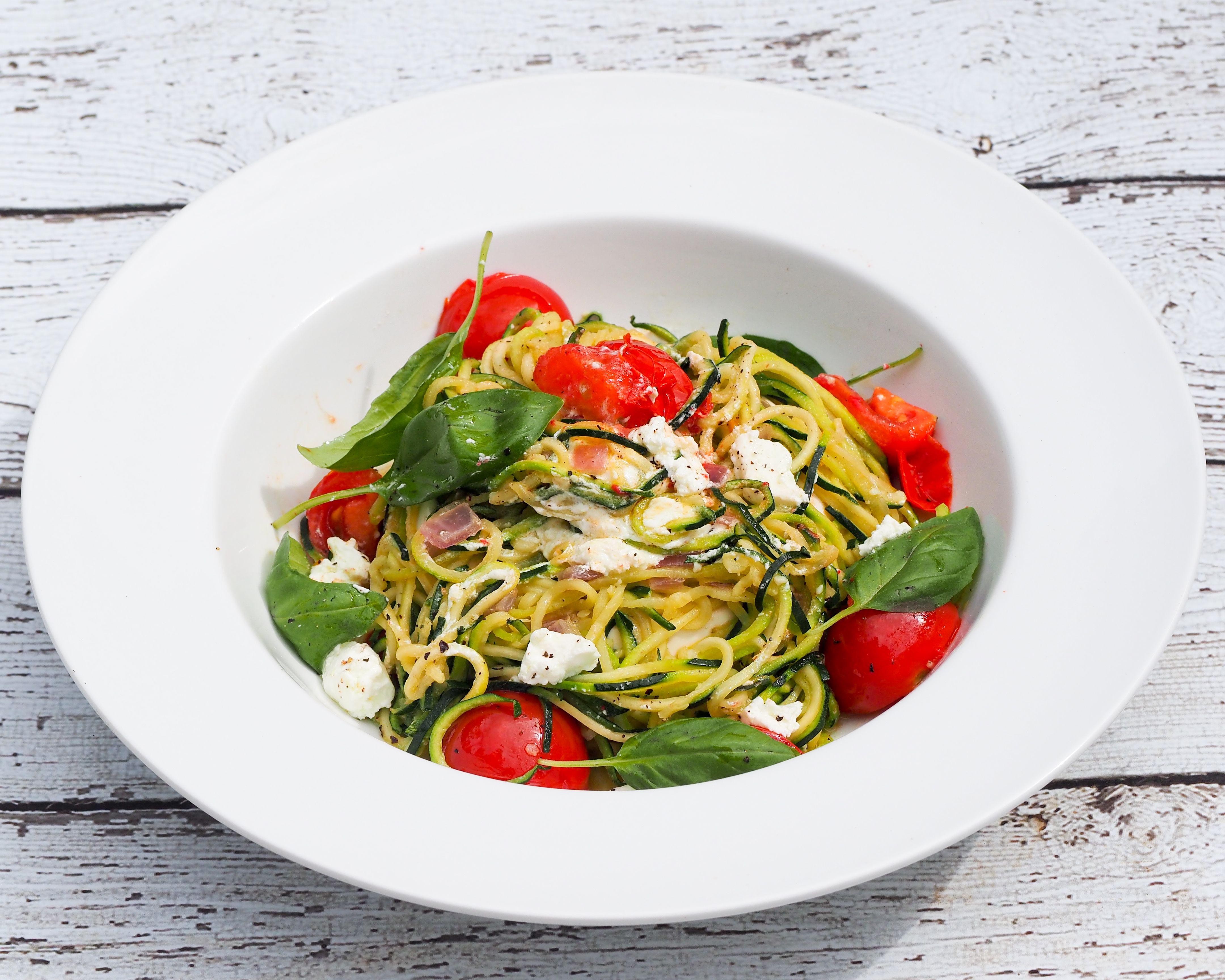 Tomato, Basil & Goat Cheese Zucchini 'Pasta' | The Sensitive ...