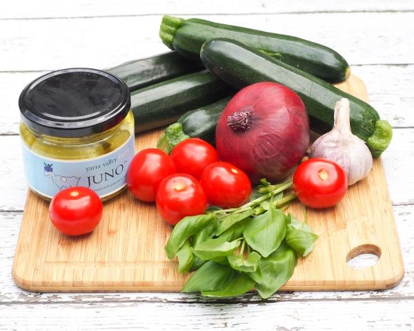 Tomato, Basil & Goat Cheese Zucchini Pasta